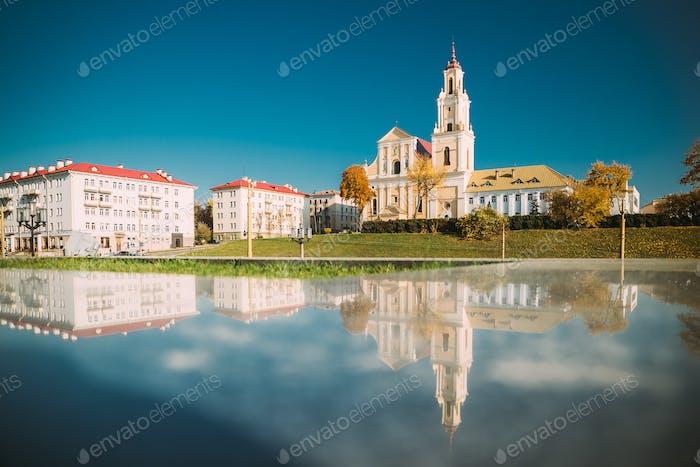 Grodno, Belarus. Catholic Church Of Discovery Of Holy Cross And Bernardine Monastery In Autumn Sunny