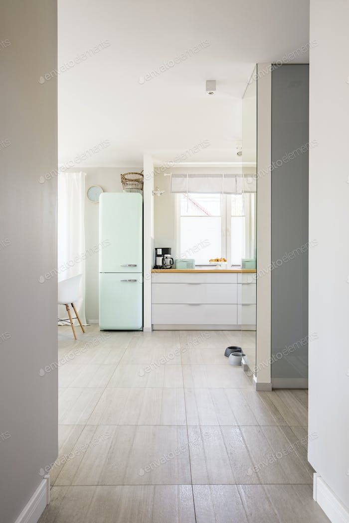 View from hall on bright spacious kitchen interior with window a