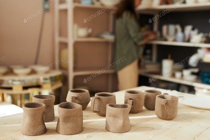 Handmade Mugs in Pottery Shop