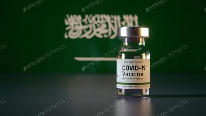 Corona Vaccine / Covid Vaccine Ampule / Vaccination in Saudi Arabia Flag