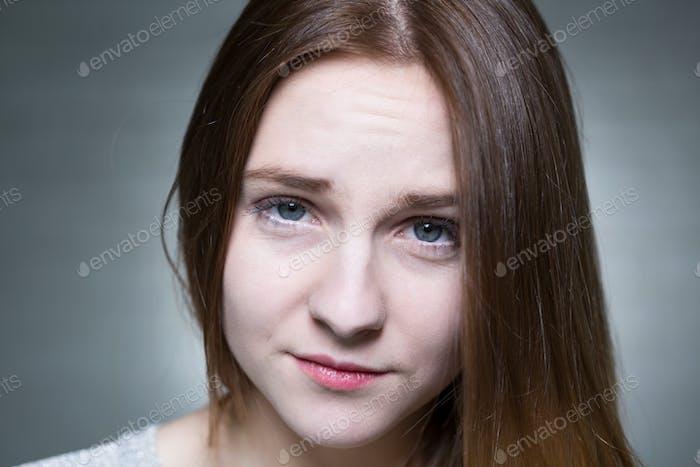 Sad young brunette