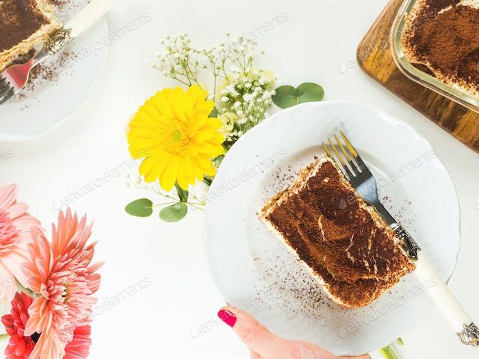 Coffee tiramisu dessert served on plates