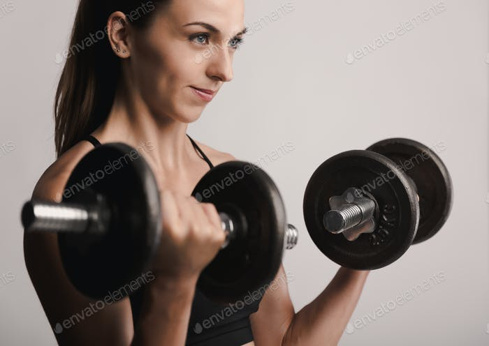 Working out with dumbbels