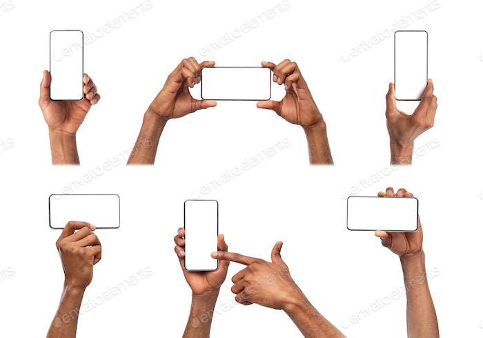 Black hands holding smart phone with blank screen isolated on white