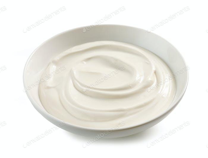 Schüssel Joghurt oder Sauerrahm