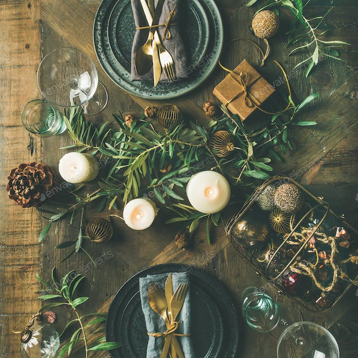Flat-lay of Christmas or New Years celebration party table setting