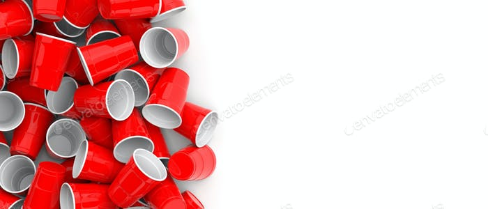Plastic red color disposable cups pile on white background, banner. 3d illustration