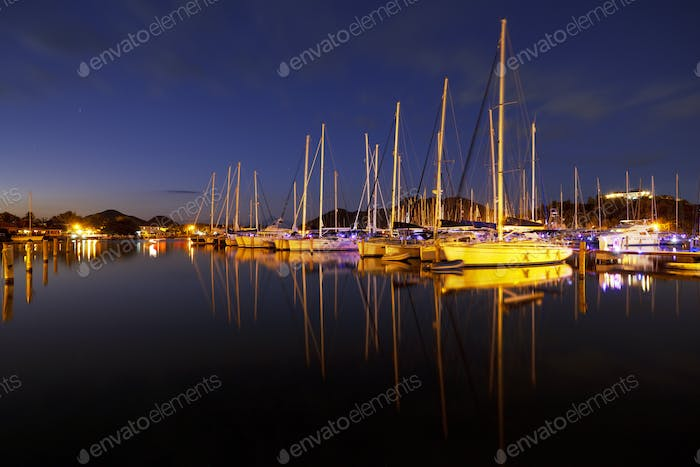 Caribbean Harbour With Sailboats At Night, Antigua