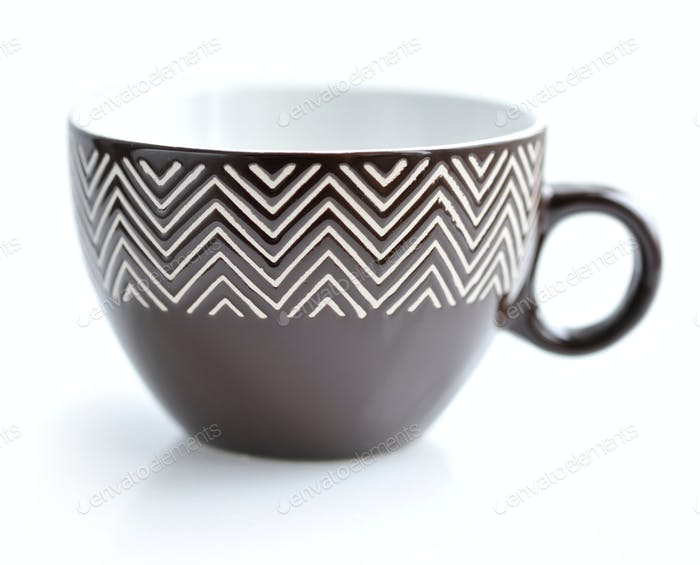 Brown teacup on white background