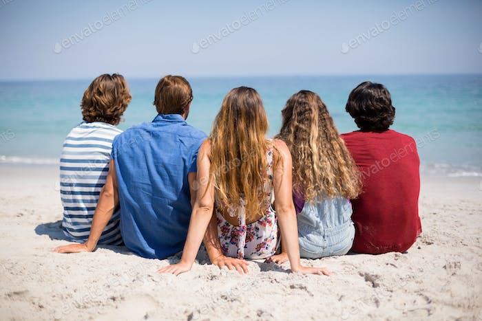 Friends sitting on shore at beach during sunny day