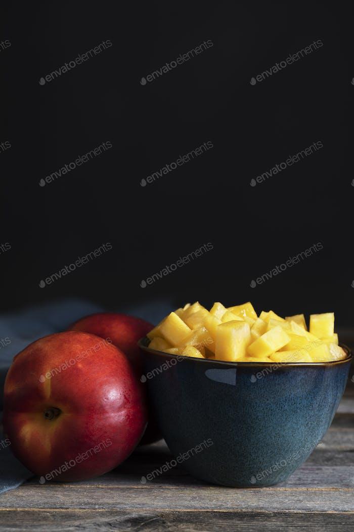 Chopped Nectarine in Bowls