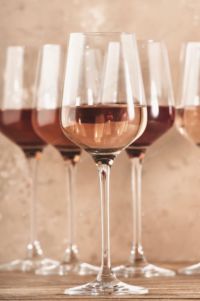 Rose wine glasses assortment on wine tasting