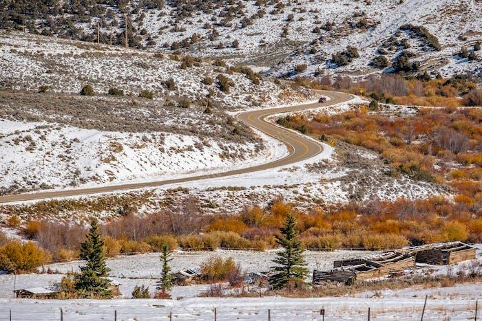 Primeros árboles de Nieve y otoño a lo largo de la carretera húmeda