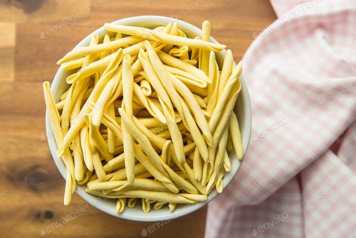 Raw italian pasta.