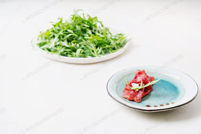 Marbled beef carpaccio.