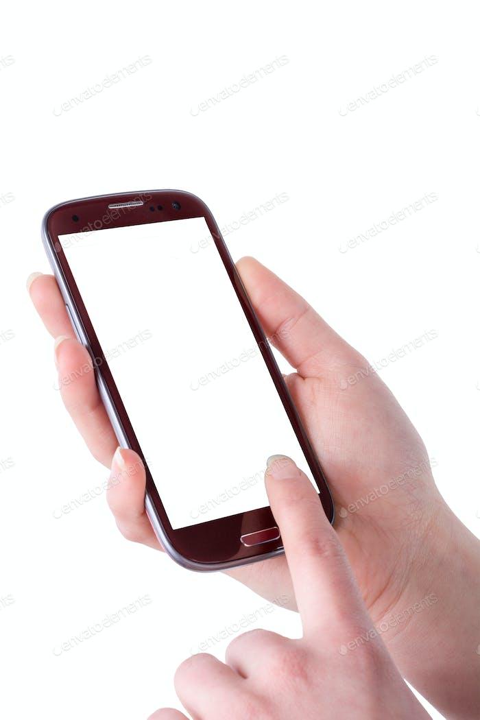 Handy in der Frau Hand auf einem weißen Hintergrund