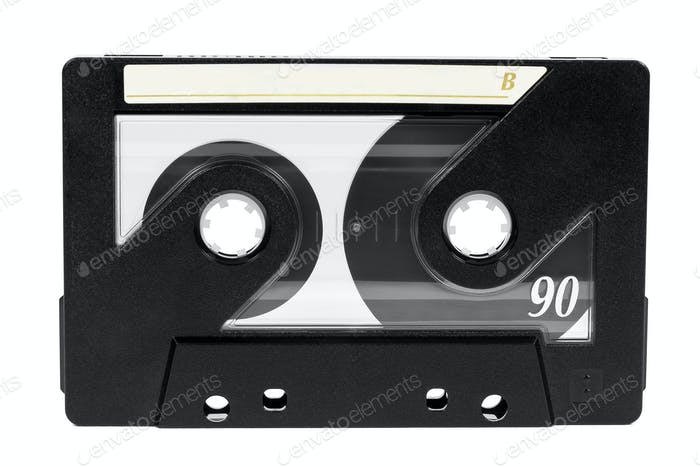 Vintage audio tape on white background