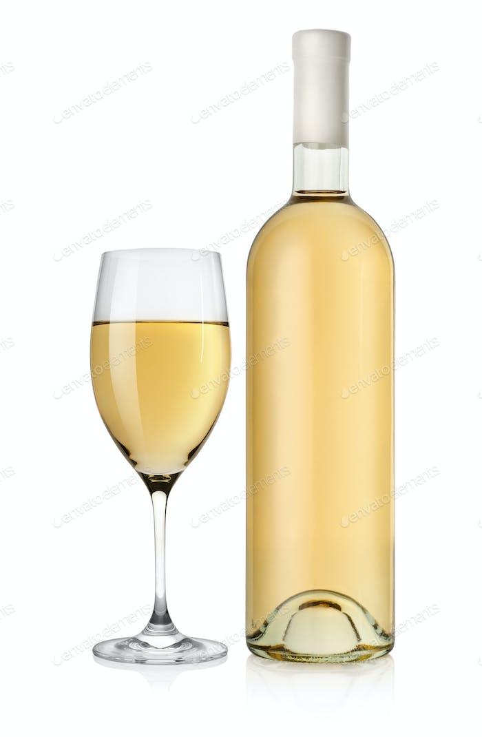 Flasche Weißwein und Weinglas