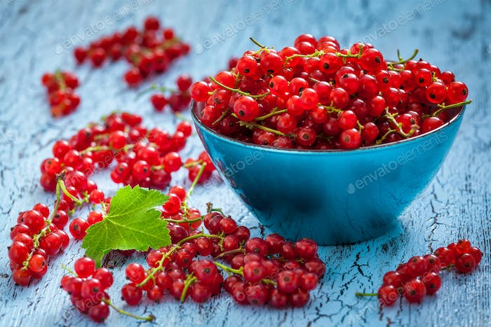 Redcurrant in wicker bowl on the table