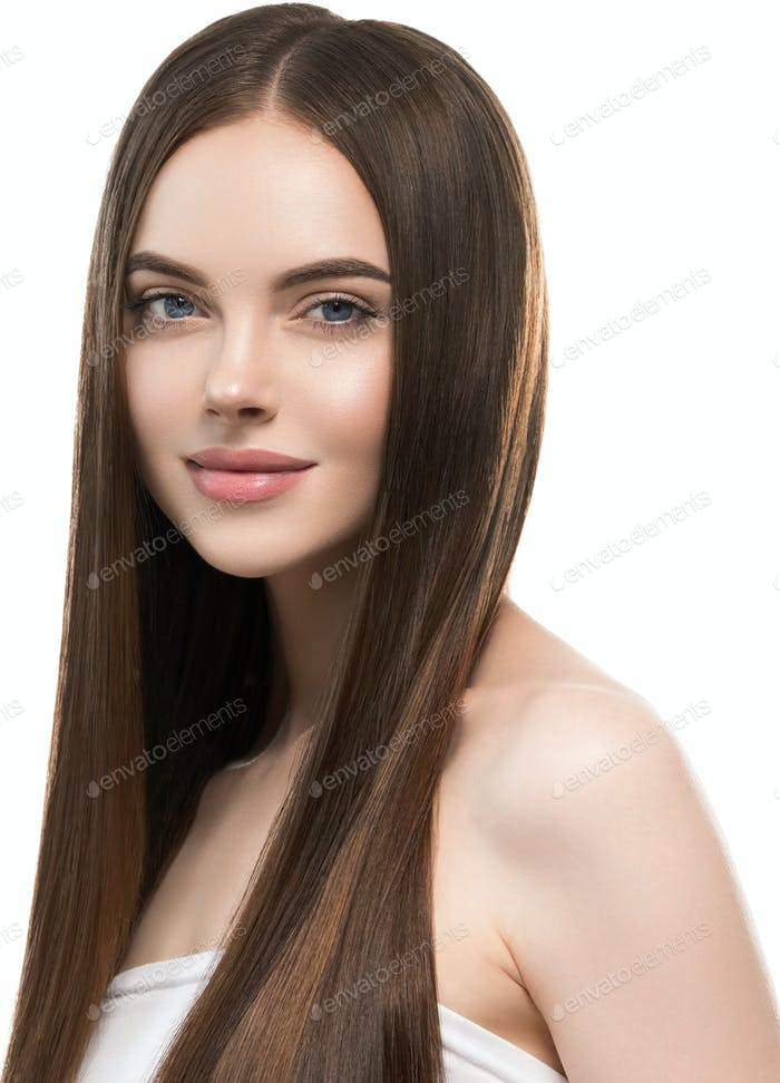 Woman with long smooth hair beautiful hairstyle fashion make up beauty female