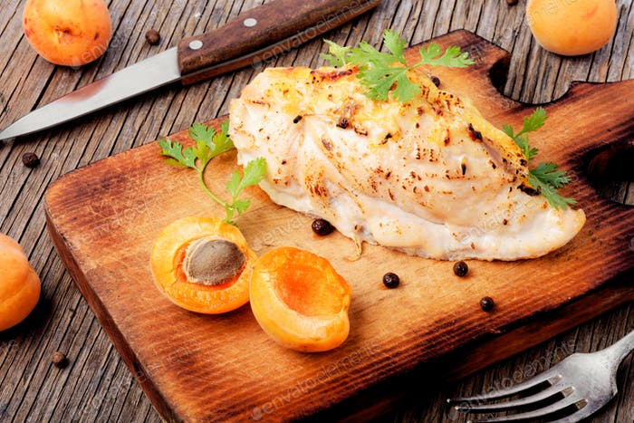 Chicken breasts cooked with apricot