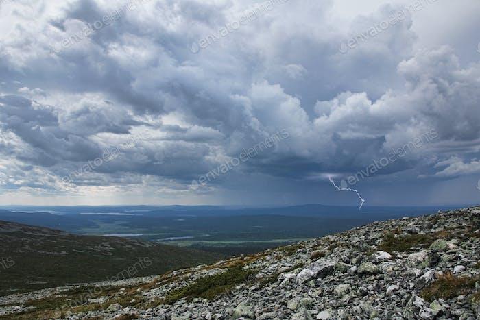 Thunderstorm approaching Fell Pallastunturi