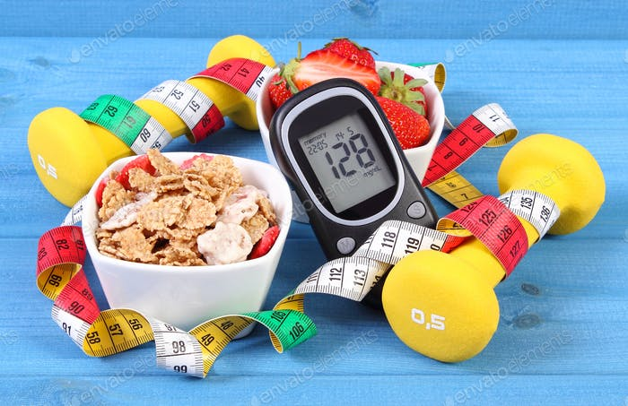 Glucometer with result sugar level, healthy food, dumbbells and centimeter, diabetes