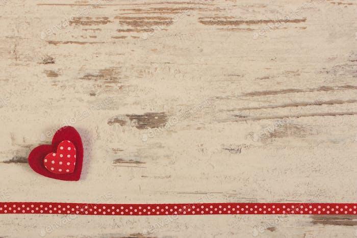 Foto Vintage, Decoración de corazón con cinta para el Día de San Valentín