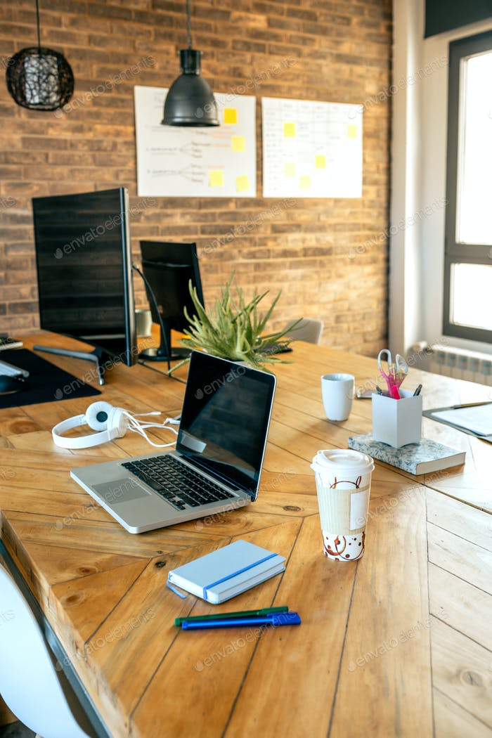 Workplace in a coworking office