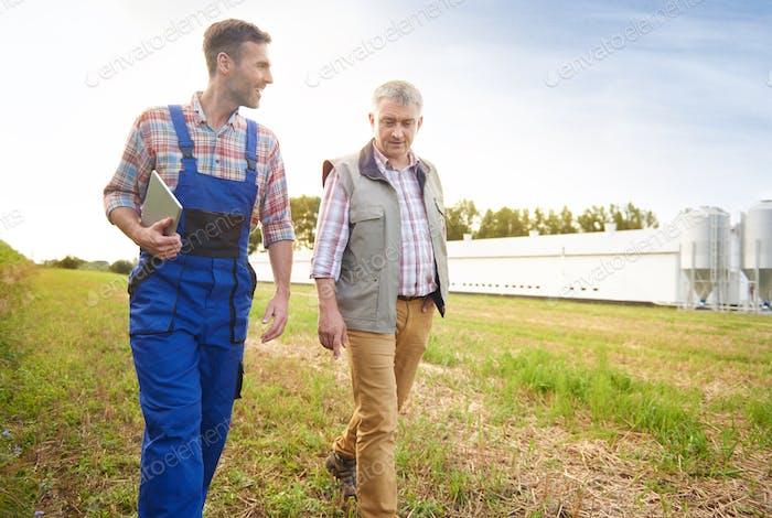 Modern farmers on the field