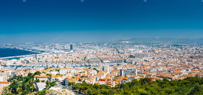 Panorama, Aerial View, Cityscape Of Marseille, France. Sunny Sum