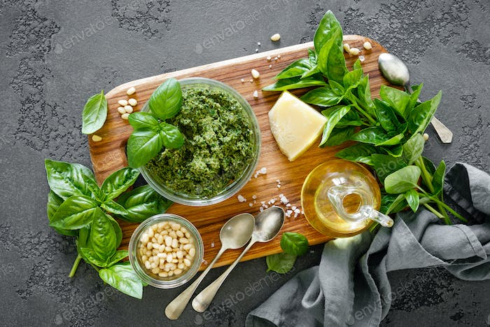 Traditional italian pesto alla genovese with fresh basil