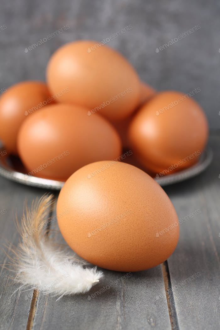 Fresh chicken eegs and feather on rustic wooden background