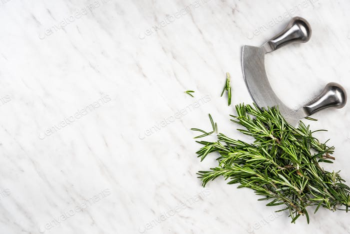 Garden fresh rosemary herb on marble table