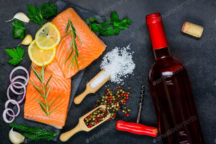 Rose Wine with Salmon Fish Fillet