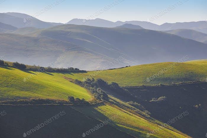 Grüne wellige Wiesen Landschaft in der Morgendämmerung in Asturien. Reisen Spanien