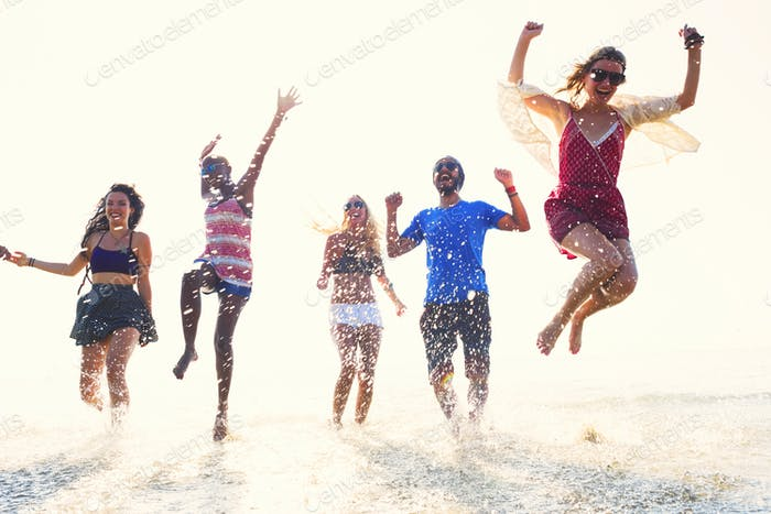 Diverse Beach Summer Friends Fun Running Concept