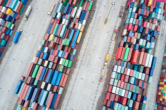 aerial view of container stack yards