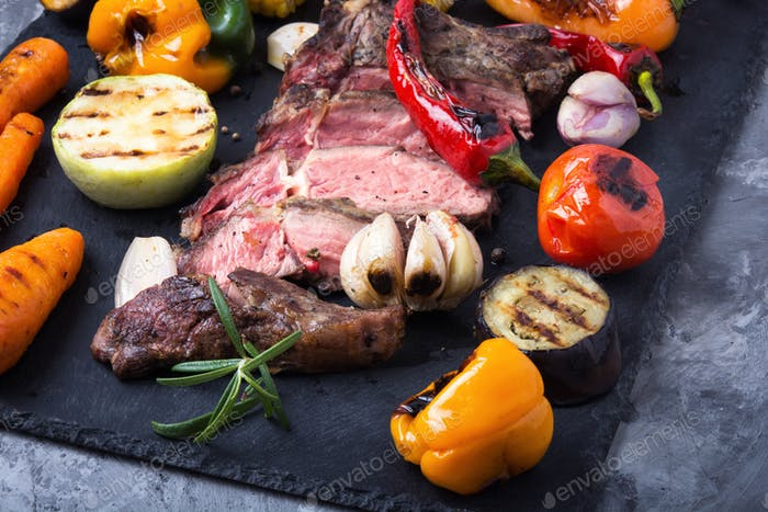 Beef grill meat and vegetables
