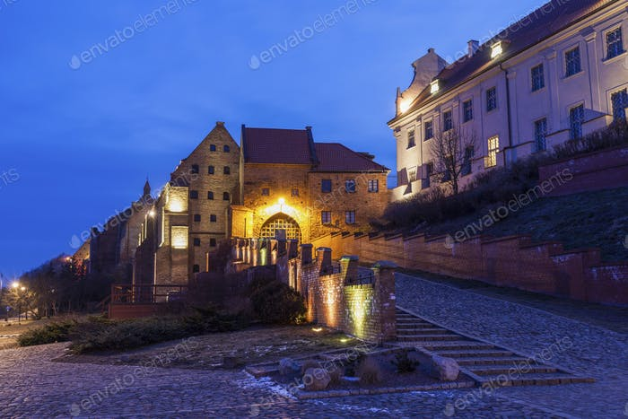 Water Gate in  Grudziadz at night