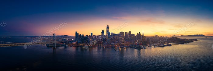 Aerial View of San Francisco Skyline with City Lights