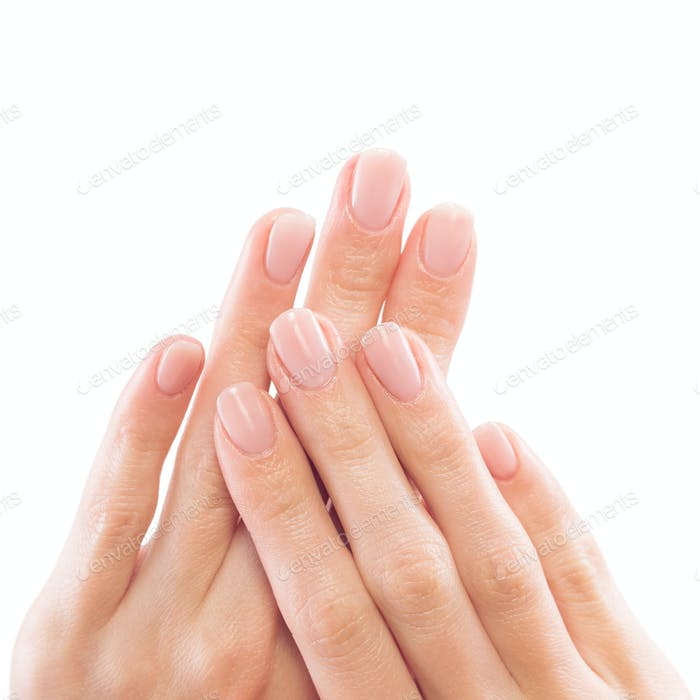 Beautiful Woman Hands Close-up. Careful Manicure.