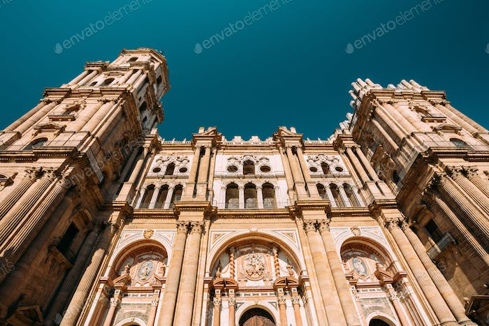 Malaga, Spain. Facade Wall Of Bell Tower Of The Cathedral Of The