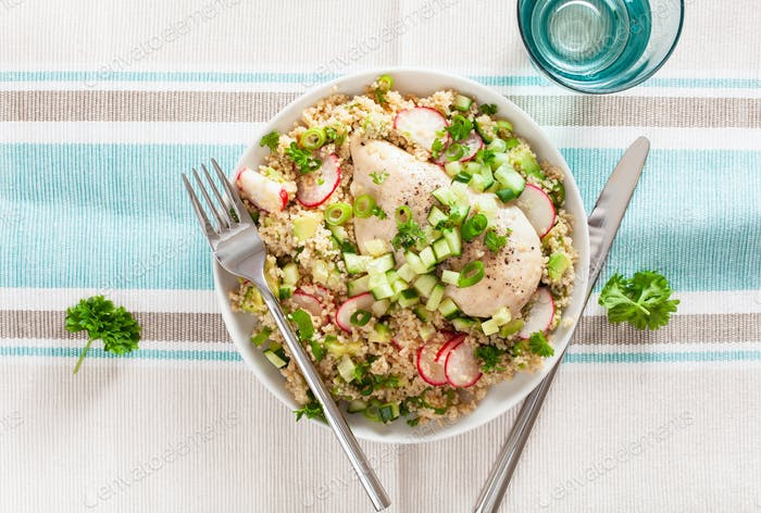 chicken breast with couscous, cucumber, avocado, spring onion, r
