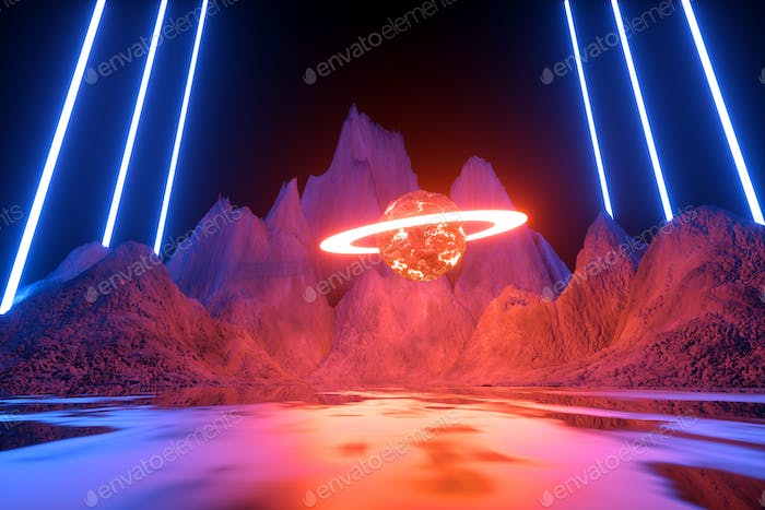 Modern futuristic neon abstract background