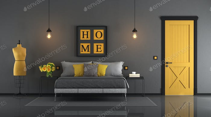 Gray and yellow master bedroom