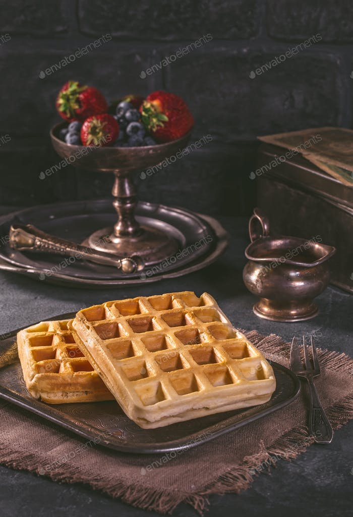 Belgian waffles without garnish