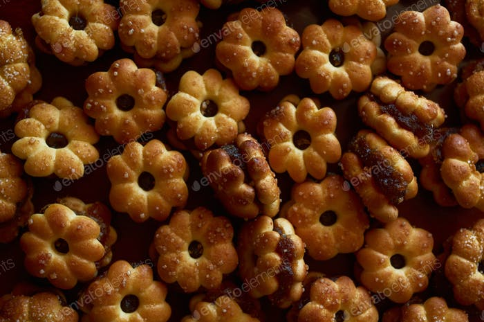Background sweet biscuit with pineapple jam