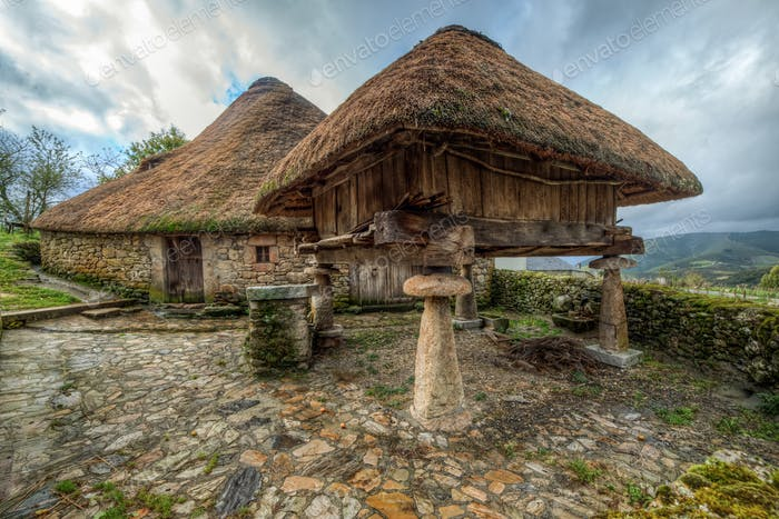 Traditional celtic dwellings of the Galician mountain