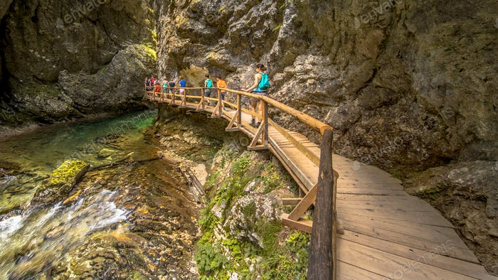 Soteska vintgar gorge boardwalk along river